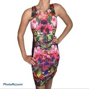 Eight Sixty shift dress w/ tropical floral inlay